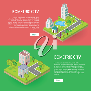 Isometric city buildingd vector web banners set. Modern architecture, skyscraper exterior, clean sustainable eco city. Home office buildings. Eco friendly environment. Residential estate cityscape.