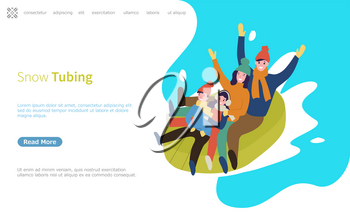 Snow tubing family going downhill on rubber material web page with text sample vector. Leisure of people, father and mother with children in tube