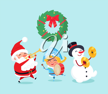 Merry Christmas celebration of Santa Claus and snowman, snow maiden vector. Winter character with music instruments, drums and trumpet caroling songs