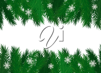 Pine tree branches evergreen spruce with snowflakes decoration vector frame. Banner for text, twigs with needles, fir branchlet with ice ornaments natural