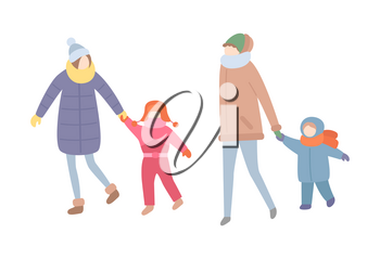 Family spending time together, winter season activity vector. Mother holding hands of son and daughter, mom and kid wearing warm clothes wintertime