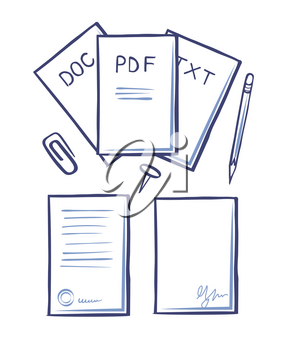 Office papers and pages with signature vector. Pencil with eraser, clip for documents, pdf and txt, doc files. Monochrome sketches outline icons set
