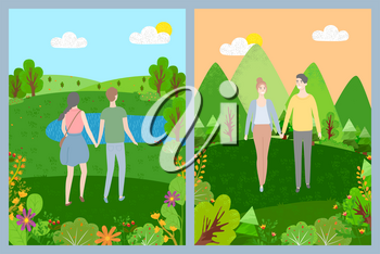 Man and woman holding hands, smiling lovers walking outdoor, landscape view, green nature, couple romantic day in park or forest, togetherness vector