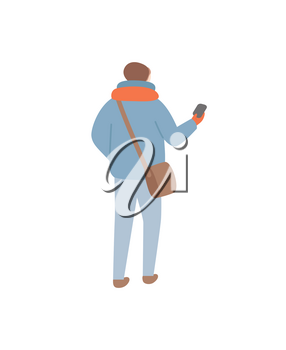 Person wearing warm clothes during wintertime vector. Man walking with sack on shoulder holding waller or phone in case. Winter seasonal clothing