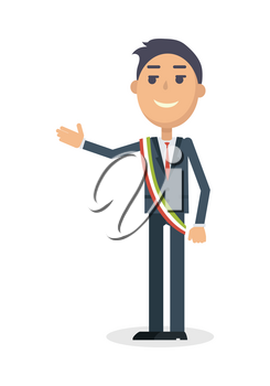 Mayor character. Smiling man in suit and tricolor striped ribbon in italian national colors flat vector illustration isolated on white background. For travel, touristic, political concept design