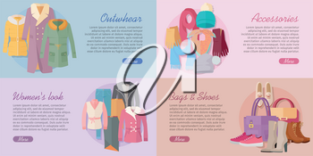 Woman s clothing bags and accessories banners. Outwear, accessories, woman s look, bags and shoes vectors on colored backgrounds. Horizontal concepts for modern clothes store landing page design