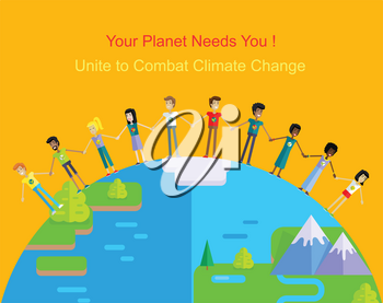 Your planet needs you. People holding hands around the planet on yellow background. Globe save earth. Concept design for banner, greeting card, poster in flat. Vector illustration.