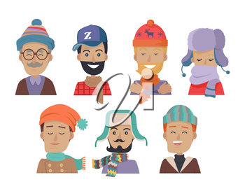 Set of icons of men in different colored hats and scarves in white background. Men in cold weather. Men with beards, mustaches and glasses. Clothes for winter and autumn. Vector illustration.