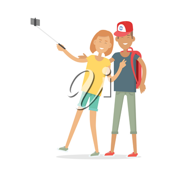 Couple makes selfie. Happy boy and girl in casual clothes making photo. Man and woman with selfie stick isolated on white. Selfie concept vector illustration. Flat style design. Couple in love.