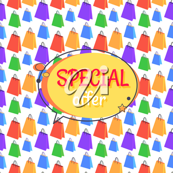 Special offer sale advertisement in round speech bubble with shopping bags seamless pattern. Promotional poster discounts info on endless texture