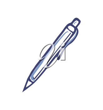 Pen with ink for writing office supply vector. Isolated icon of automated tool to record information down on paper. Stylo monochrome sketch outline