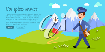 Complex service cartoon web banner. Postman in uniform with bag full of letters walking on green mountain meadow flat vector illustration. Horizontal concept for mail or post company landing page