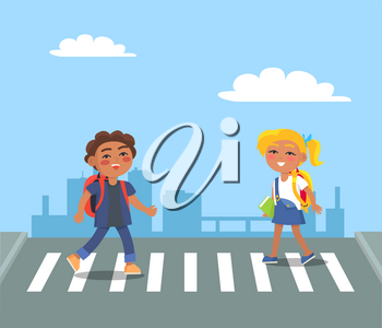 Kids crossing street on pedestrian in urban city vector illustration. Smiling boy and girl with backpacks on crosswalk moving towards each other