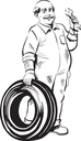 Friendly mature male mechanic in dirty overalls holding a spanner and tyre, black and white hand-drawn vector illustration