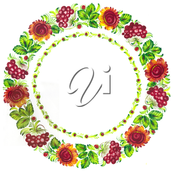 Royalty Free Clipart Image of a Floral Circle