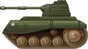 Illustration of a green military tank on a white background