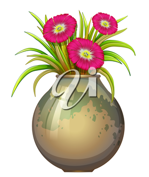 Illustration of a big pot with flowers on a white background