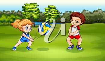 Illustration of a girl and a boy playing volleyball
