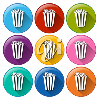 Illustration of the popcorn icons on a white background