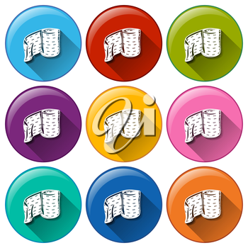 Illustration of the round buttons with medical plasters on a white background