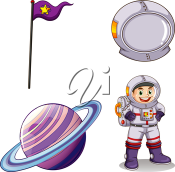 Illustration of an astronaut, a planet, a banner and a helmet on a white background