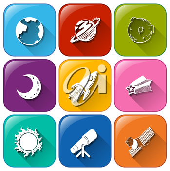 Illustration of the icons with objects found in the outerspace on a white background