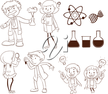 Illustration of scientists and labs