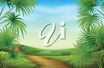 Illustration of a beautiful landscape with palm plants