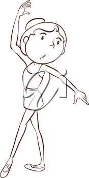Illustration of a simple sketch of a ballet dancer on a white background