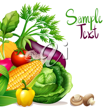 Fresh vegetables with sample text space illustration