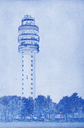 Grungy technical drawing or blueprint illustration on blue background, TV tower