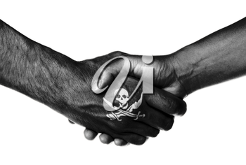 Man and woman shaking hands, isolated on white, Pirate