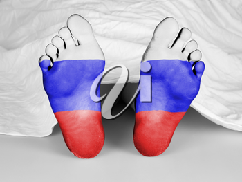 Dead body under a white sheet, flag of Russia
