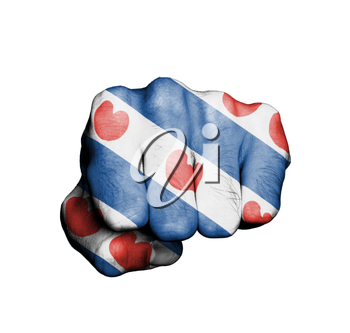 Front view of punching fist, banner of the dutch province of Friesland