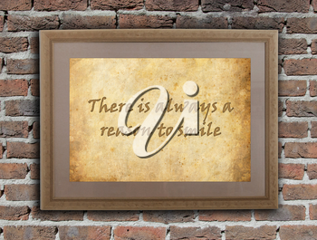 Old wooden frame with written text on an old wall - There is always a reason to smile