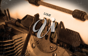 Close-up of an old typewriter with paper, selective focus, Like