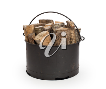 Metal basket of firewood, isolated on white