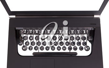 Laptop with old fashioned typewriter keys, isolated on white