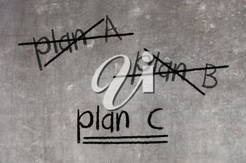 Crossing out Plan A and Plan B and writing Plan C, concept for change of plan