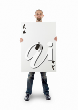 Businessman with large playing card - Ace of spades
