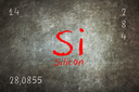 Isolated blackboard with periodic table, Silicon, Chemistry