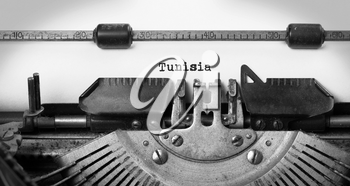 Inscription made by vintage typewriter, country, Tunisia