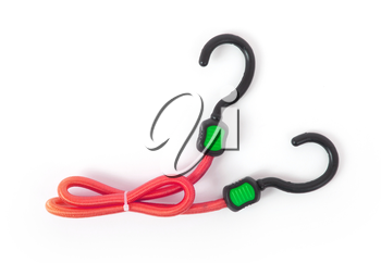 Black hook with elastic rope on a white background