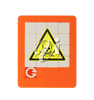 Old puzzle slide game, isolated on white - poisonous (danger) symbol
