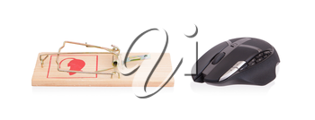 Modern computer mouse in a mousetrap against white background