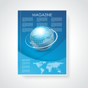 Magazine or brochure cover with world map and globe on abstract  blue background