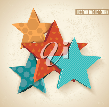 Vintage colorful 3D stars pattern. Vector background.