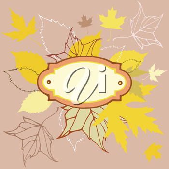 Colored leaves background with frame for text