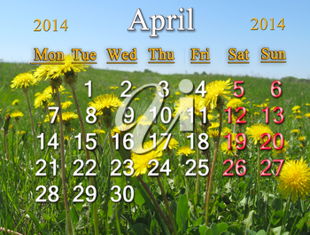 calendar for the April of 2014 year on the background of dandelions
