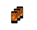 illustration of modern mobile phone with images of flame on the white background